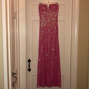 strapless pink prom dress